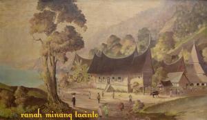 Lukisan Rumah Gadang & Surau. Gambar: Internet